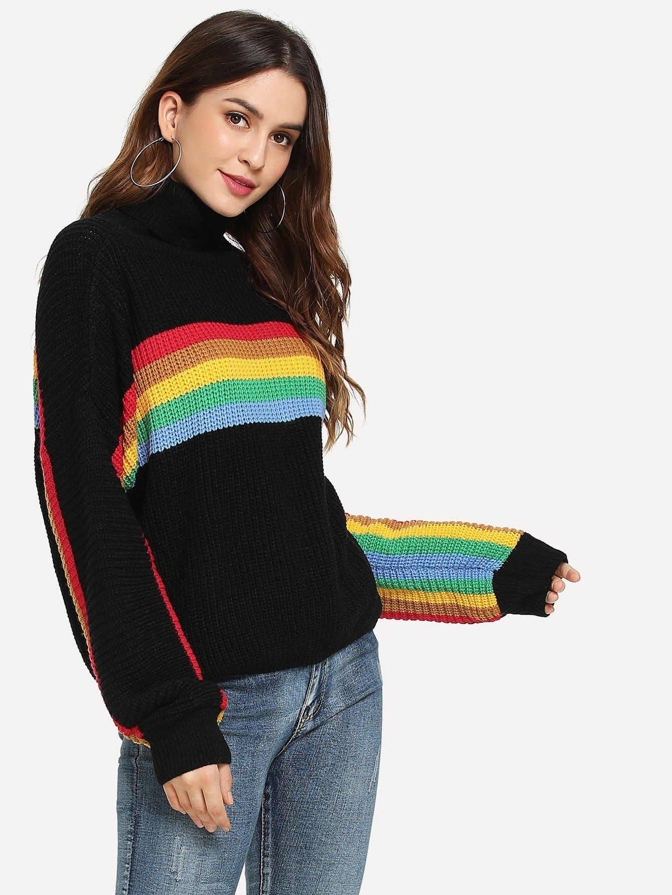 Купить Контратсный свитер с высоким вырезом, Jana, SheIn