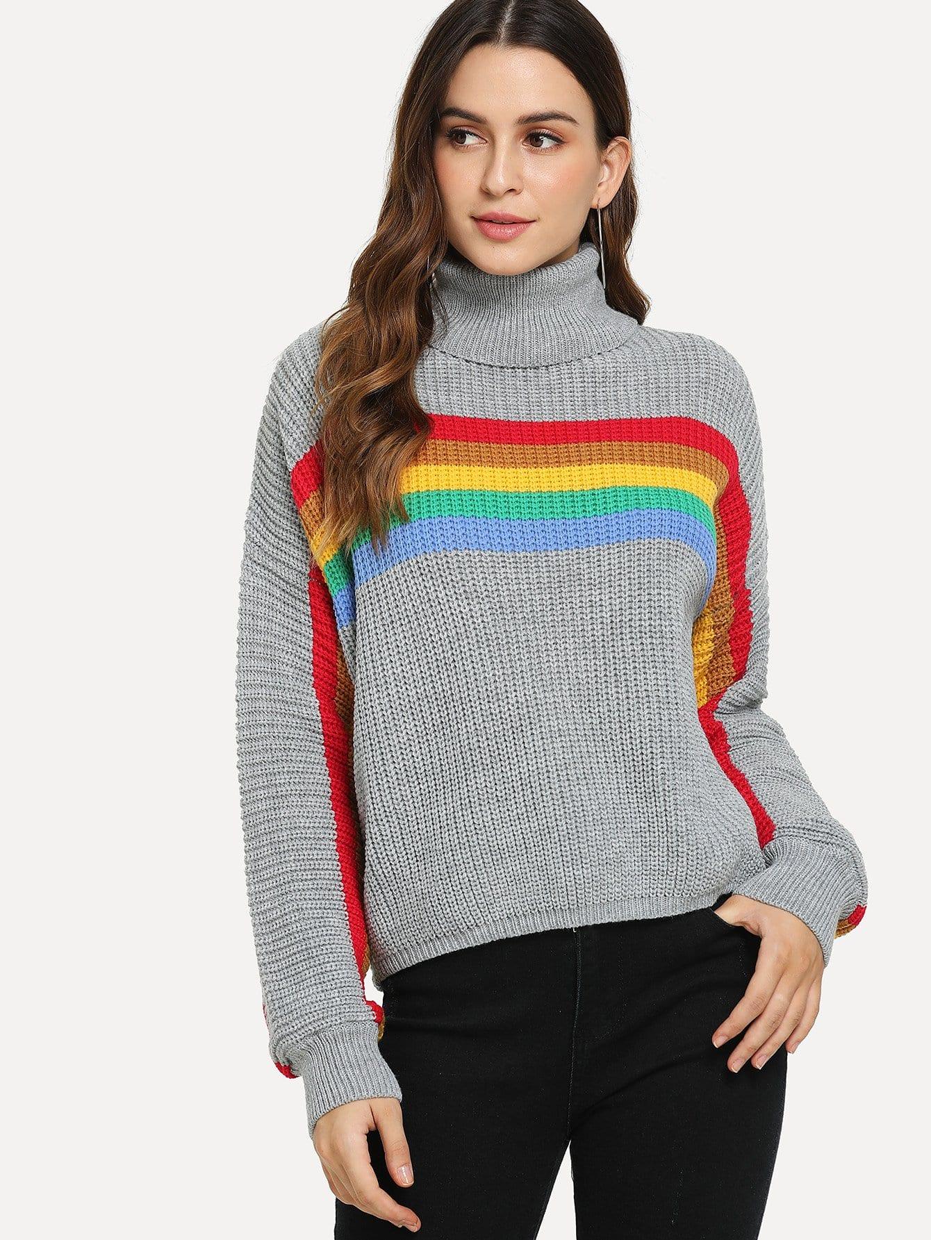 Фото - Контратсный свитер с высоким вырезом от SheIn серого цвета