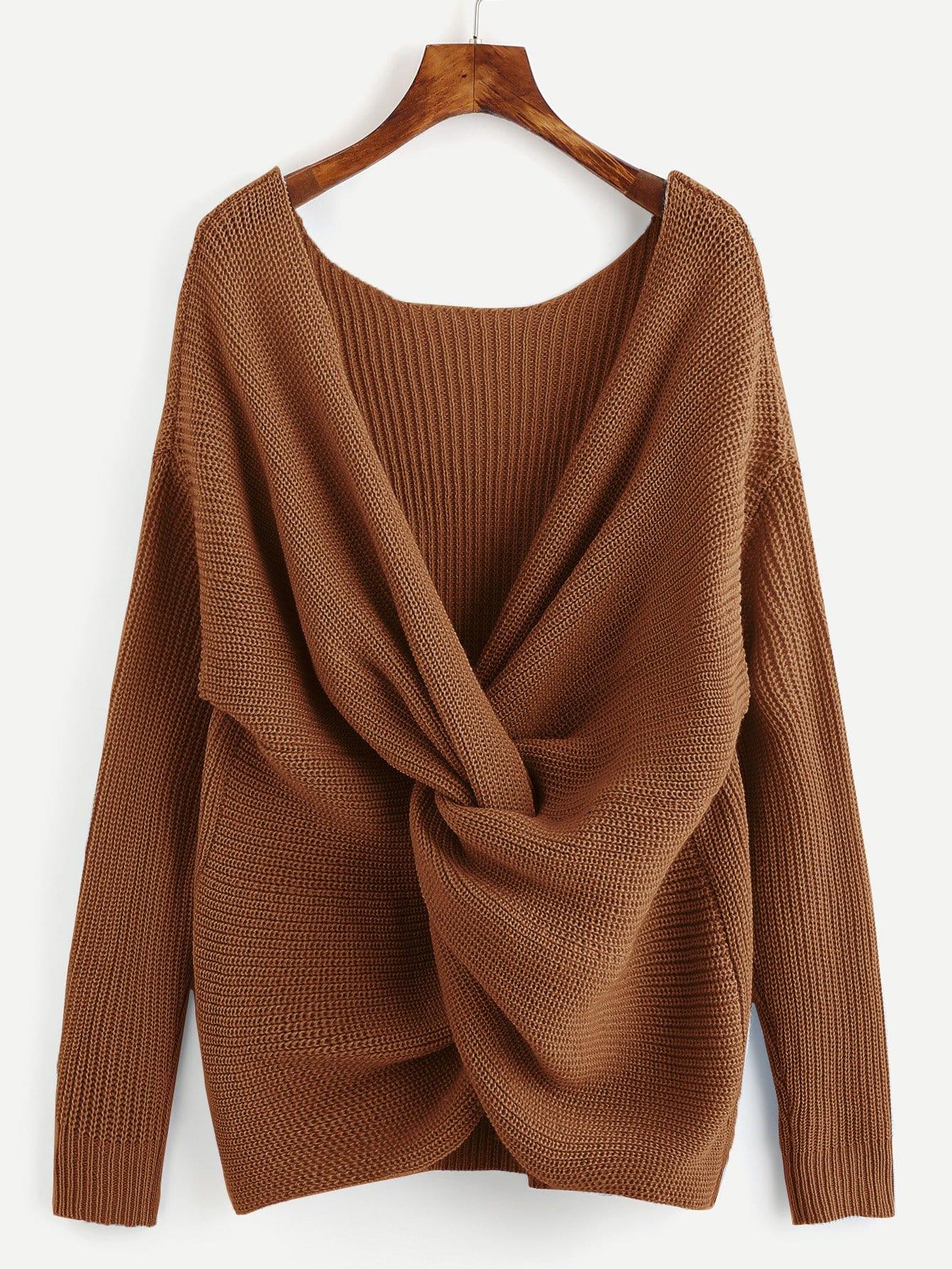 Фото - Витой свитер с v-образным вырезом от SheIn коричневого цвета
