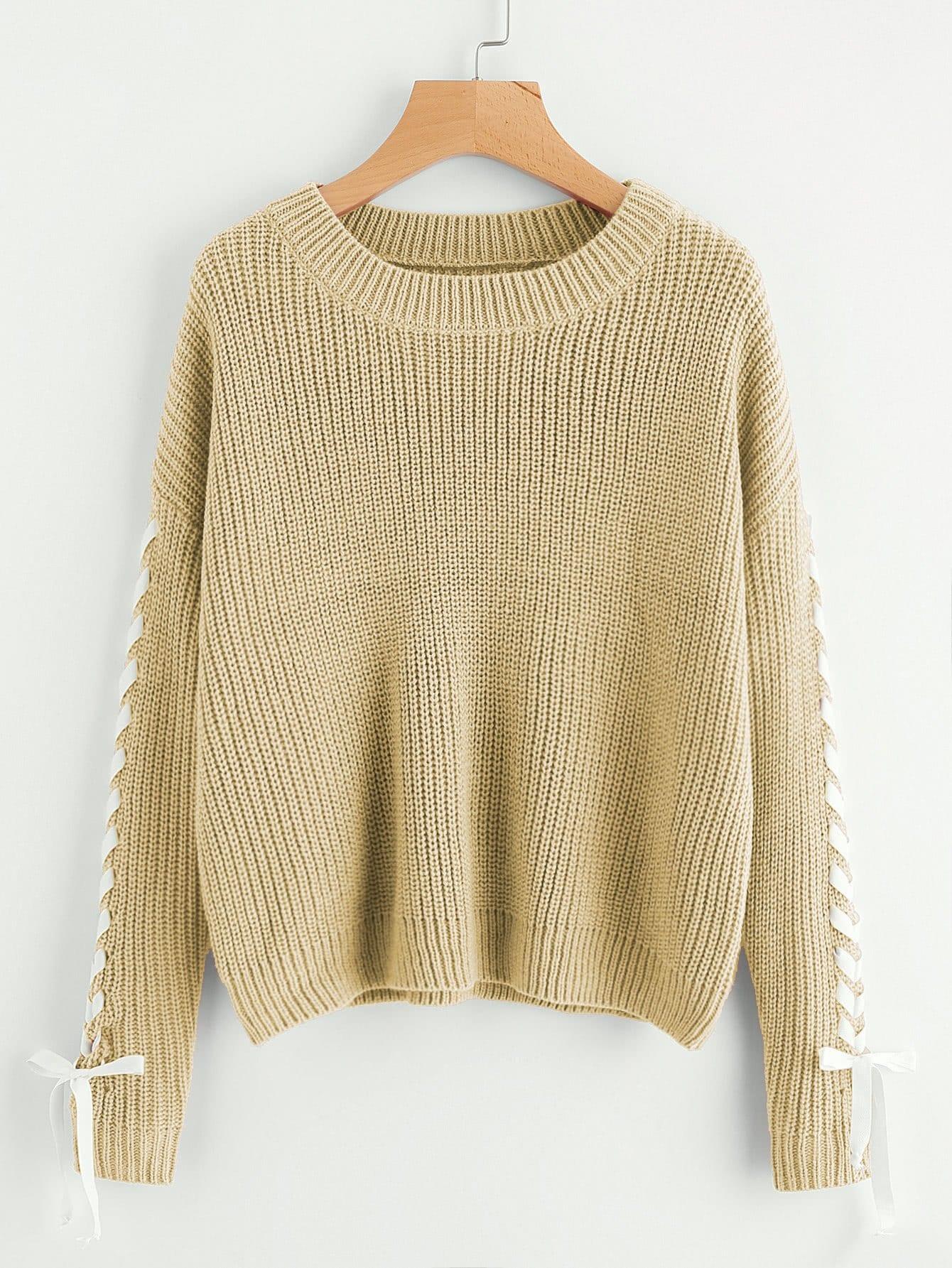 Фото - Контрастный свитер на шнуровке от SheIn коричневого цвета