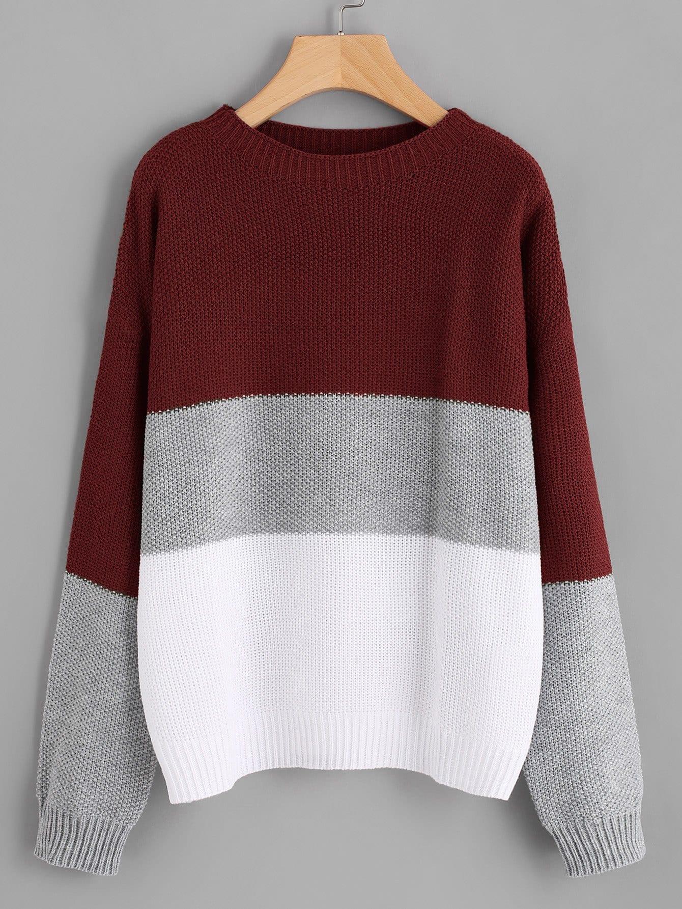 Фото - Плюс размеры контрастный свитер с круглым вырезом от SheIn цвет многихцветные