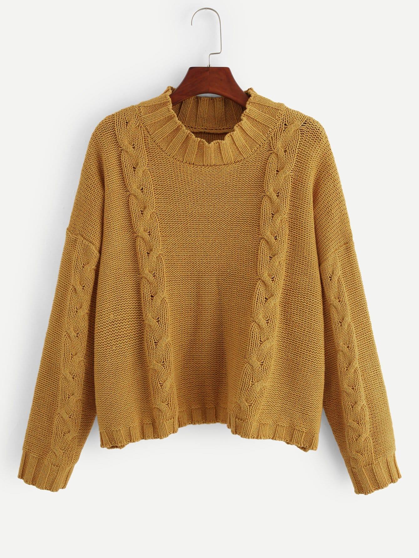 Фото - Плюс размеры вязанный свитер с звниженной линией плеч от SheIn цвет жёлтые