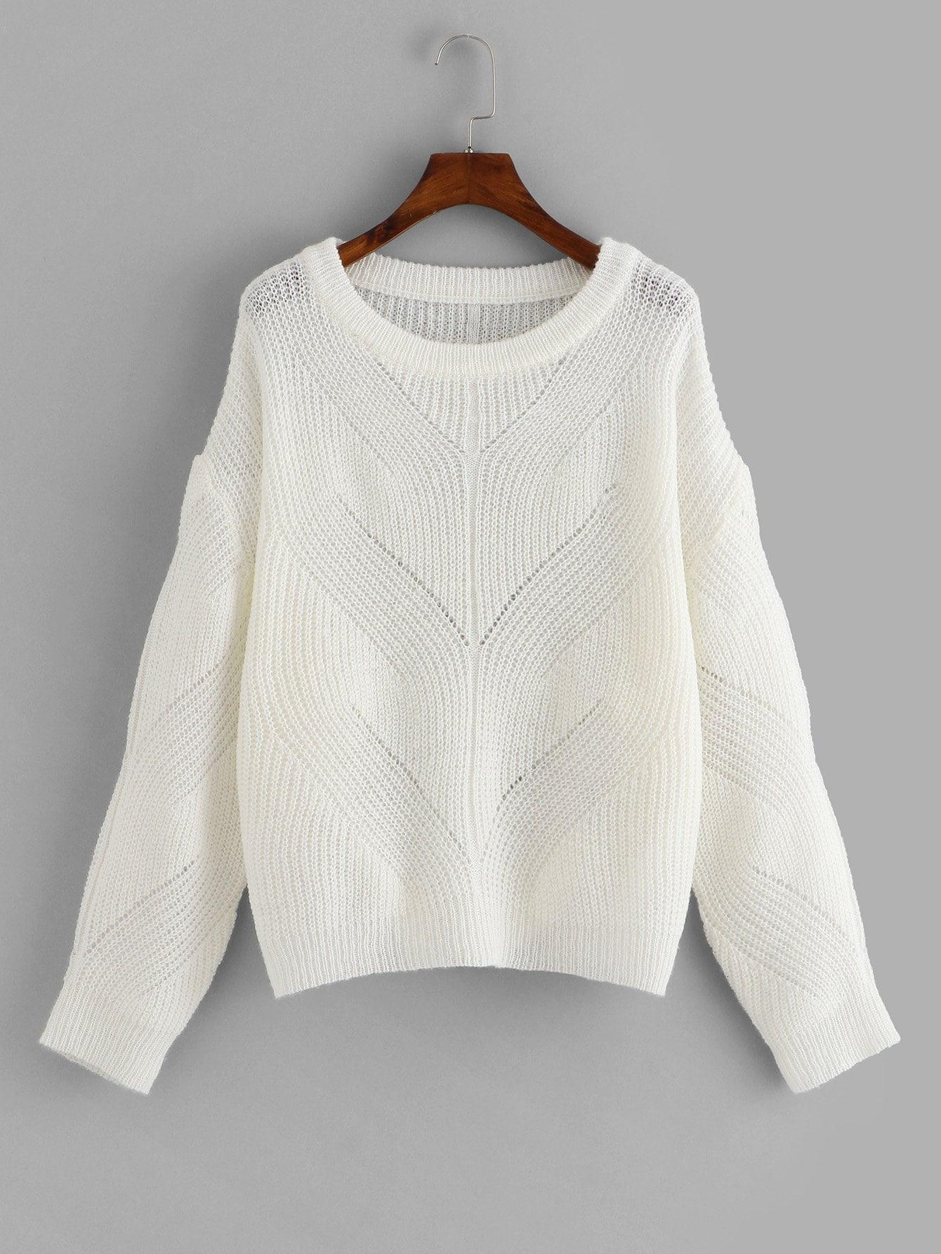Фото - Плюс размеры свитер с заниженной линией плеч от SheIn цвет белые