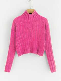 Neon Pink High Neck Raw Hem Crop Sweater