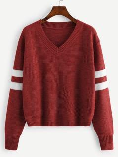 V Neck Striped Sleeve Sweater