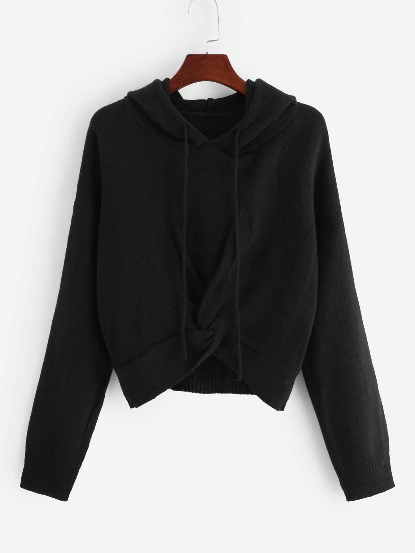 Фото - Одноцветный свитер с капюшоном с кулиской от SheIn черного цвета