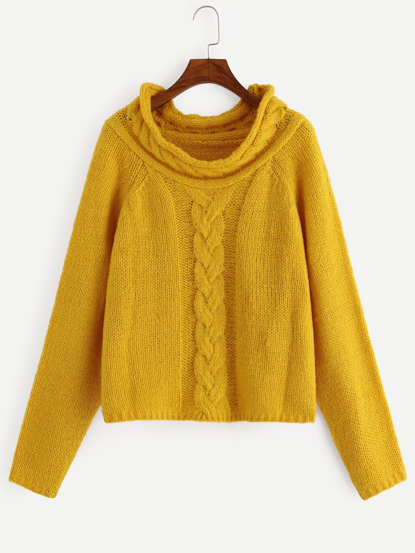 Фото - Одноцветный свитер с регланом-рукавом от SheIn цвет жёлтый