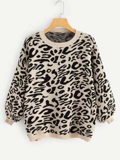 Round Neck Leopard Sweater