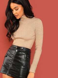 Metallic Rib Knit Turtleneck Pullover Sweater