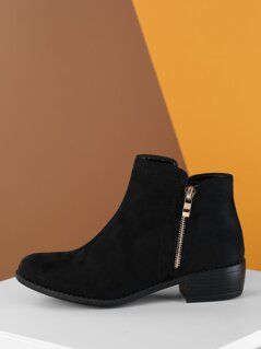 Side Zip Detail Low Stacked Heel Ankle Booties