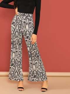 Snake Print Wide Leg Woven Pants