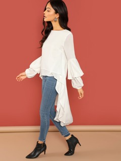 Puff Sleeve Asymmetric Hem Boho Blouse