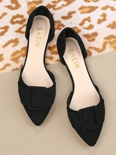 Buckle Accented Dorsay Flats