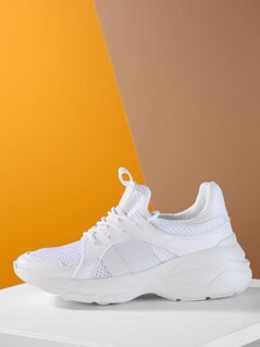 Lace Up Mesh And Faux Leather Chunk Dad Sneakers
