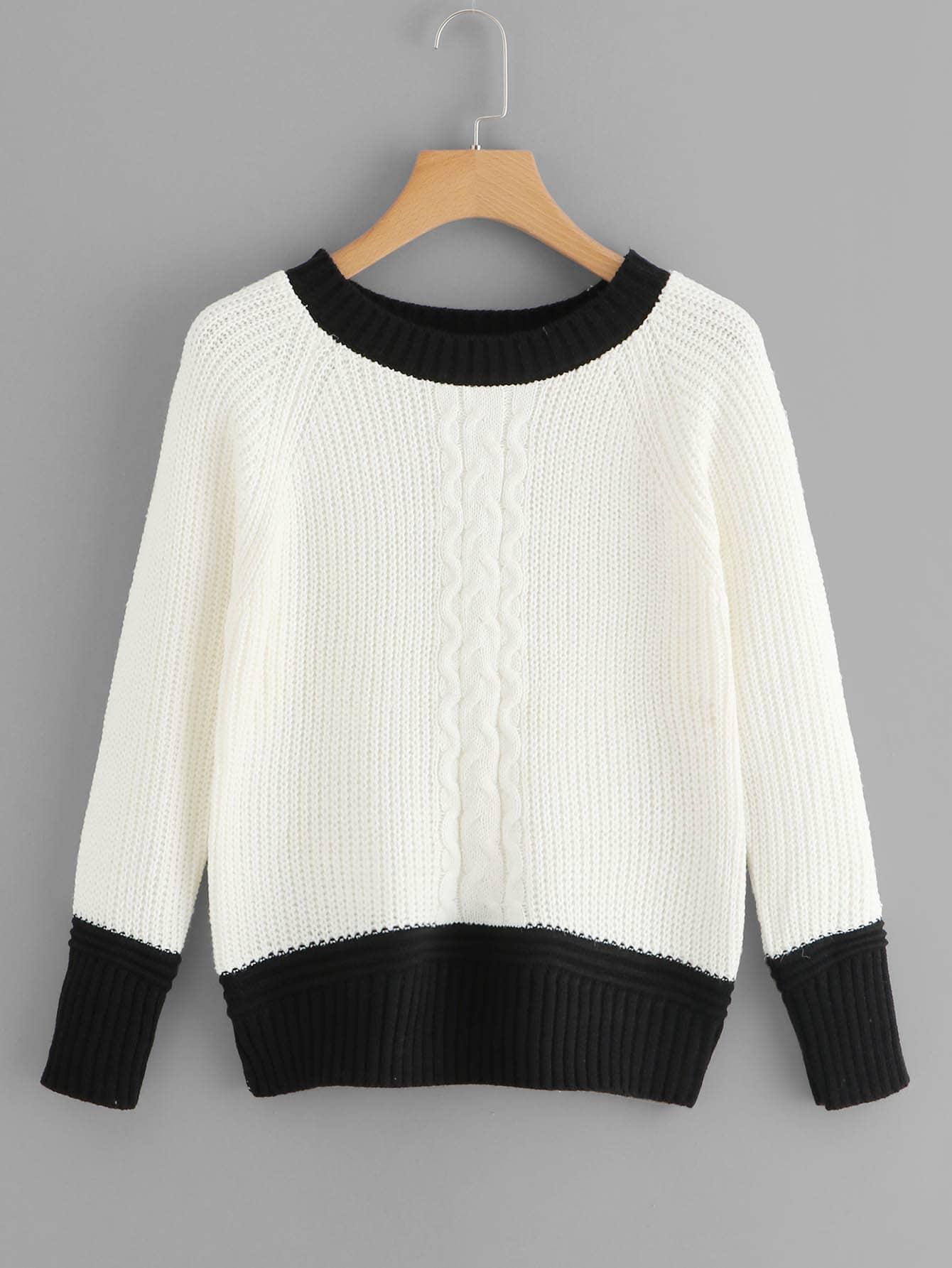 Фото - Контрастный свитер с рукав-регланами от SheIn цвет чёрнобелые