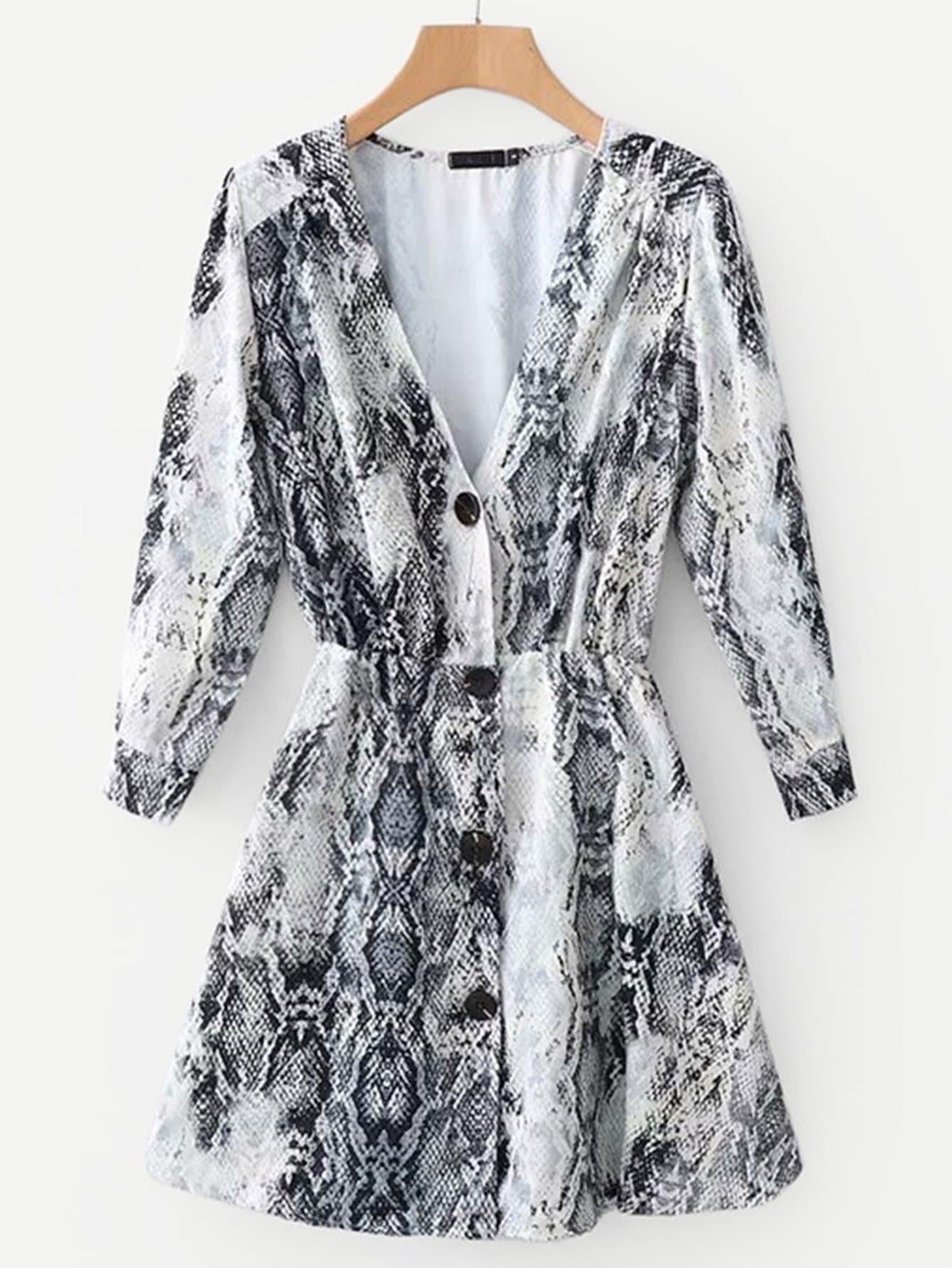 Фото - Однобортное платье с принтом змеиных кож от SheIn цвет многоцветный
