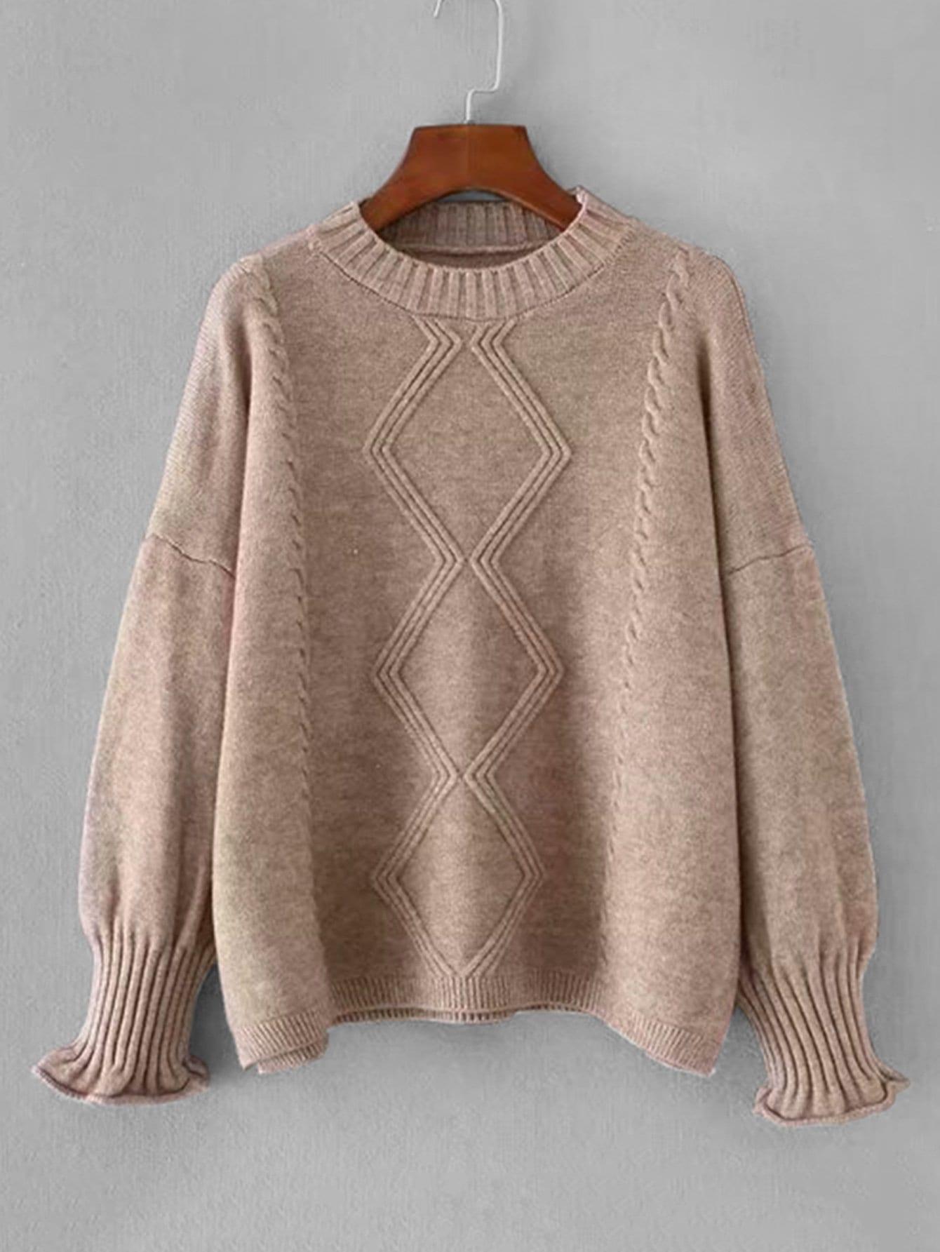 Купить Вязаный свитер с заниженной линией плеч, null, SheIn