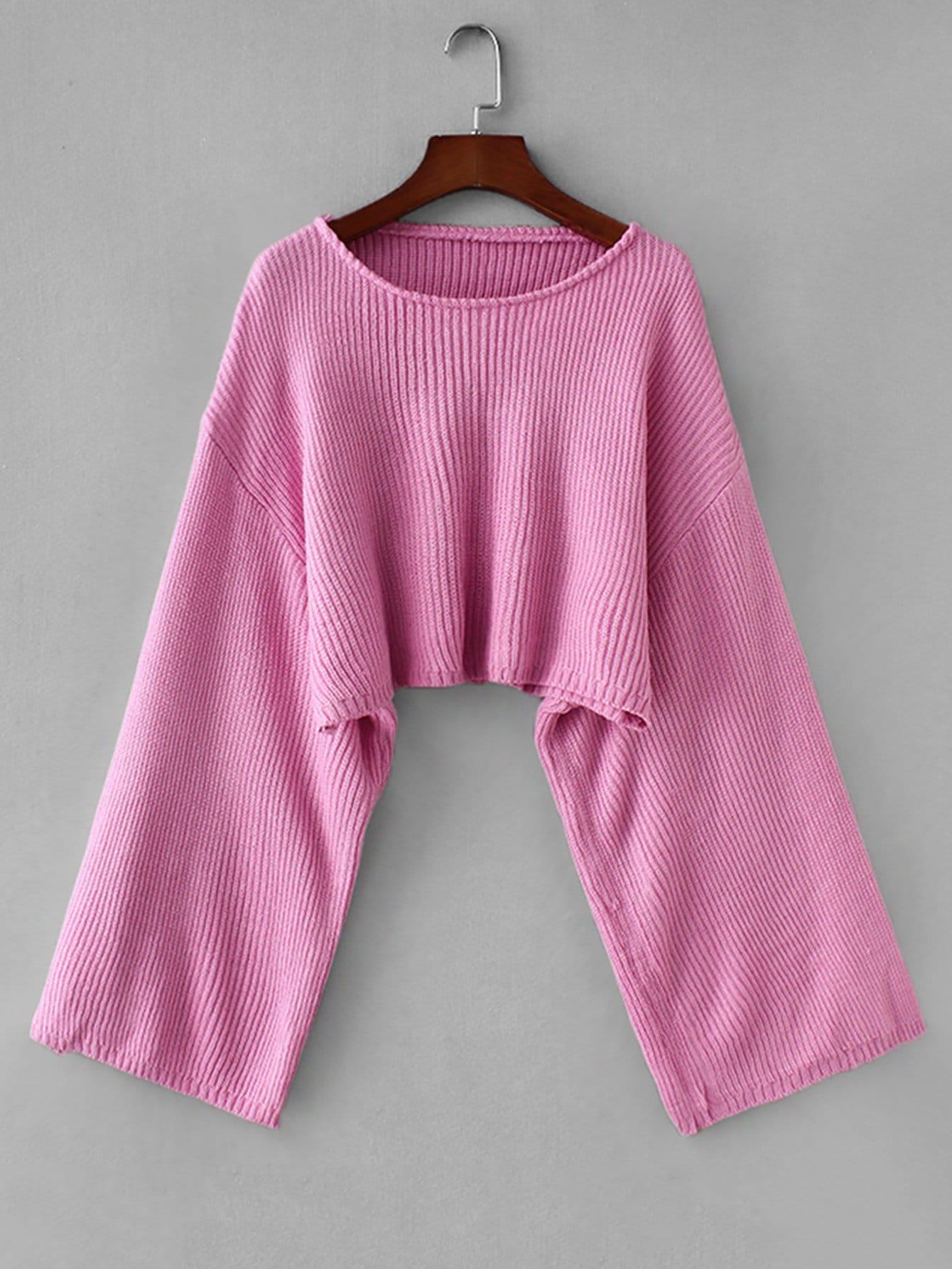 Фото - Однотонный свитер с заниженной линией плеч от SheIn розового цвета