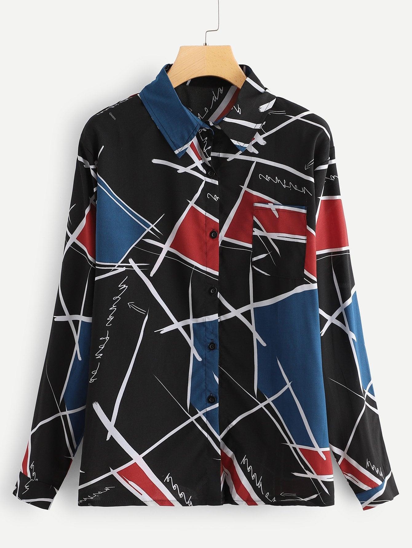 Фото - Размера плюс блуза с принтом гнеометрической фигуры от SheIn цвет многихцветные