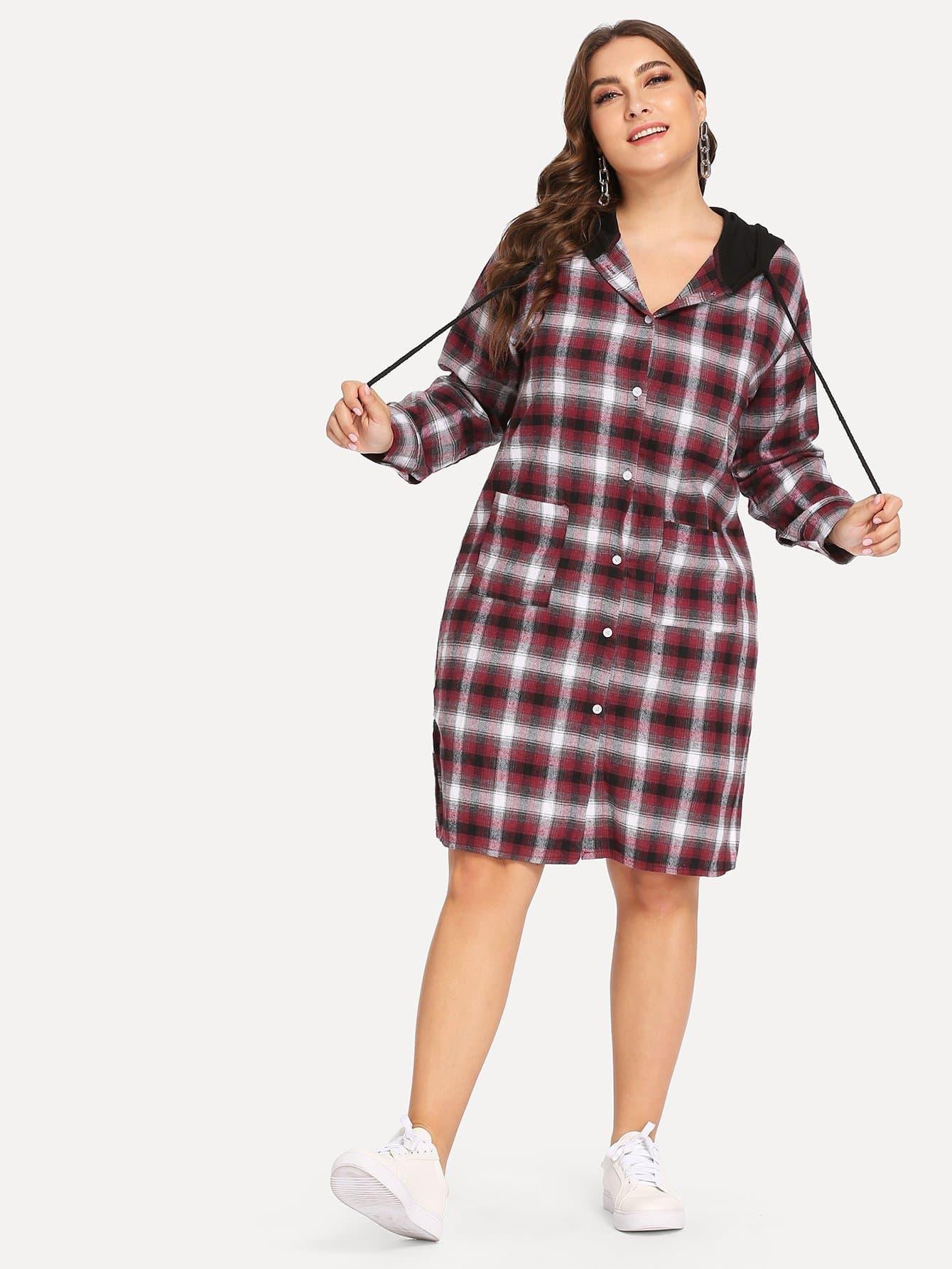 Фото - Размера плюс платье-рубашки в клетку с капюшоном от SheIn цвет многихцветные