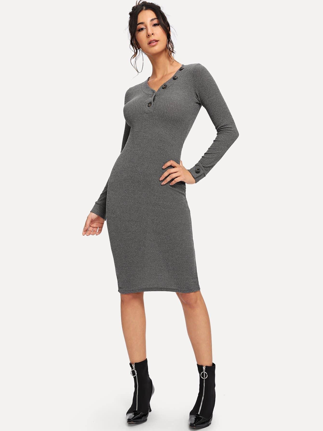 Купить Вязаное платье с V-образным вырезом, Gabe, SheIn