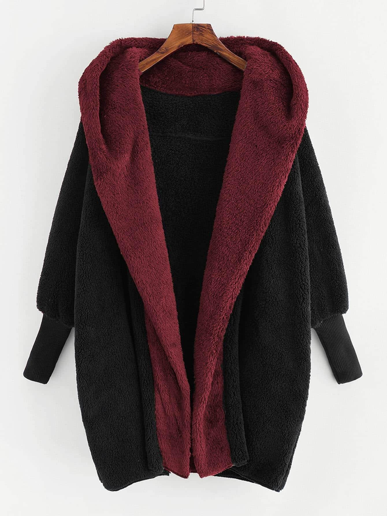 Купить Открытое пальто тедди с капюшоном из искусственных кож, null, SheIn