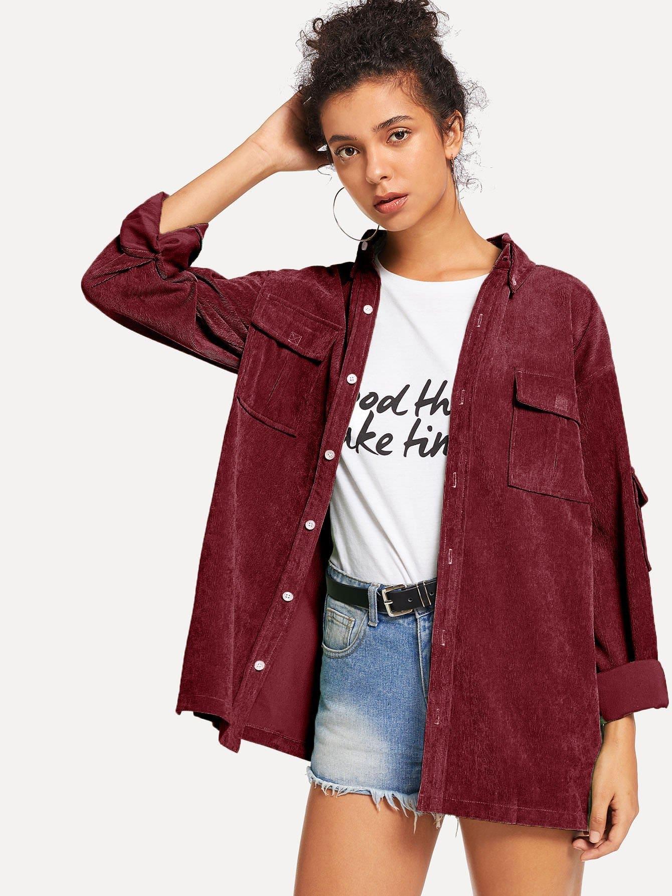 Фото - Однотонное вельветовое пальто с двумя кармана от SheIn бордового цвета