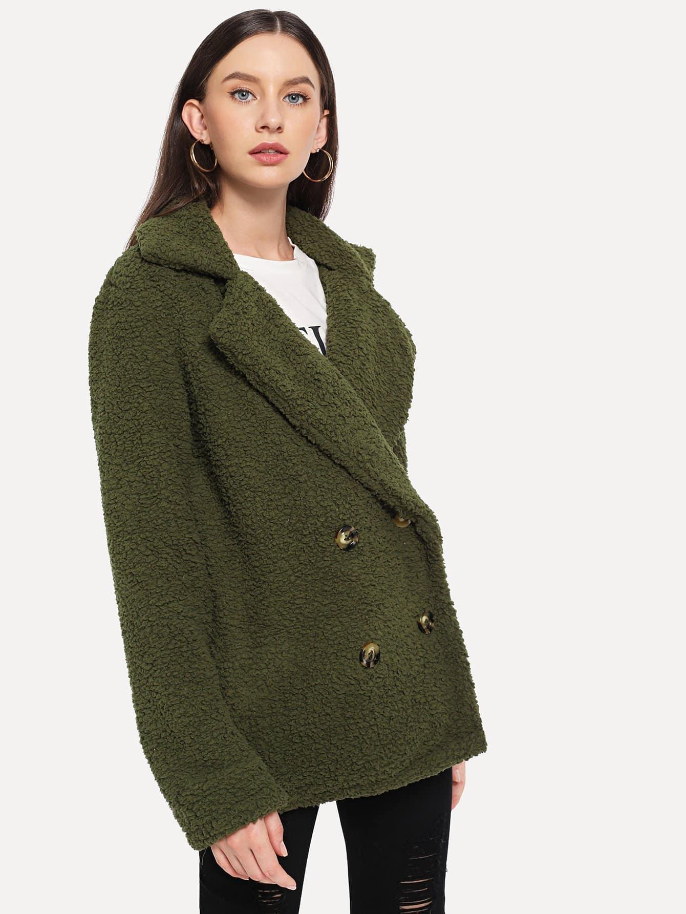 Фото - Двубортное однотонное пальто тедди от SheIn цвет цвета хаки