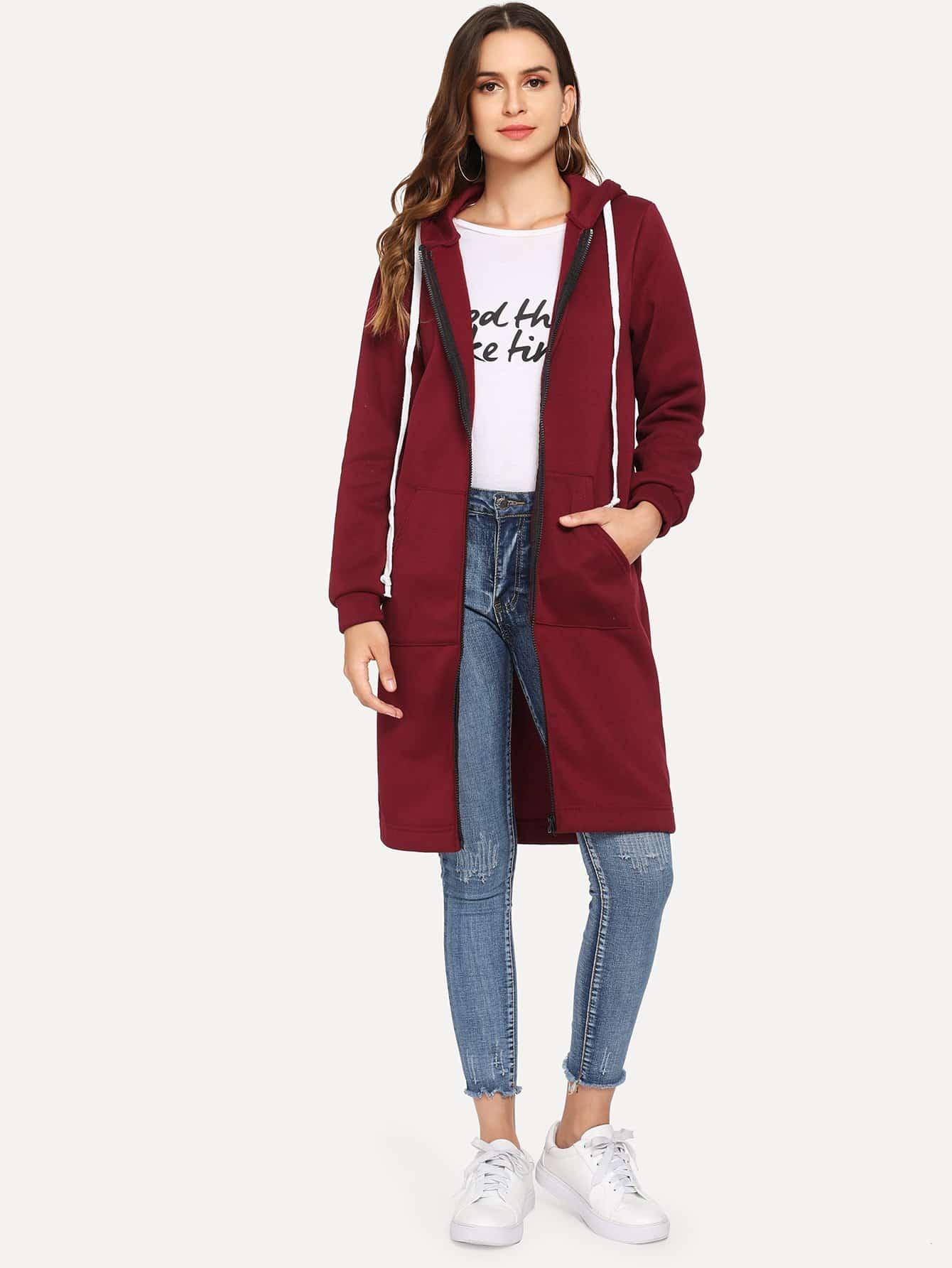 Пальто с капюшоном и застёжкой молния SheIn