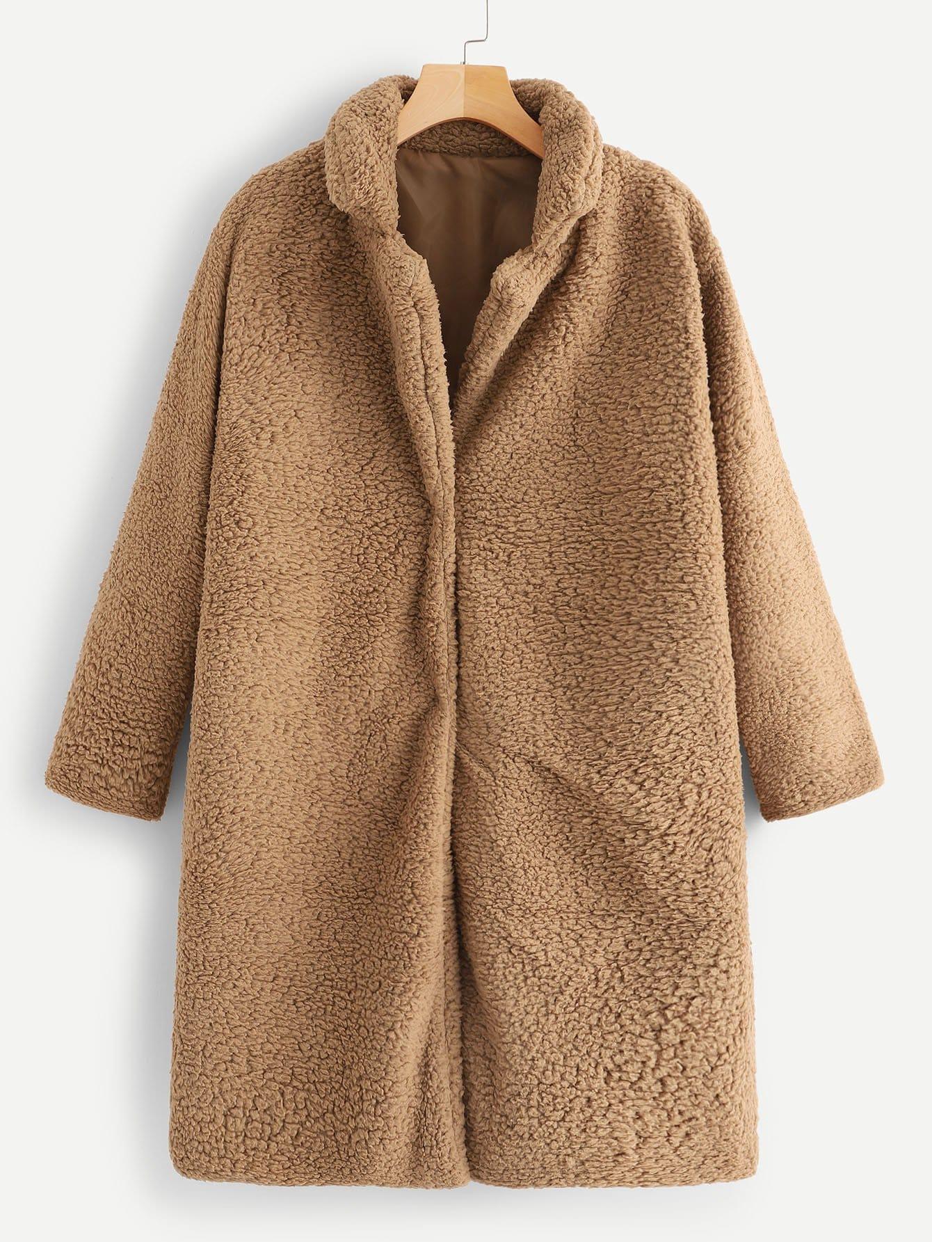 Фото - Однотонное пальто тедди от SheIn цвет желтовато бурый