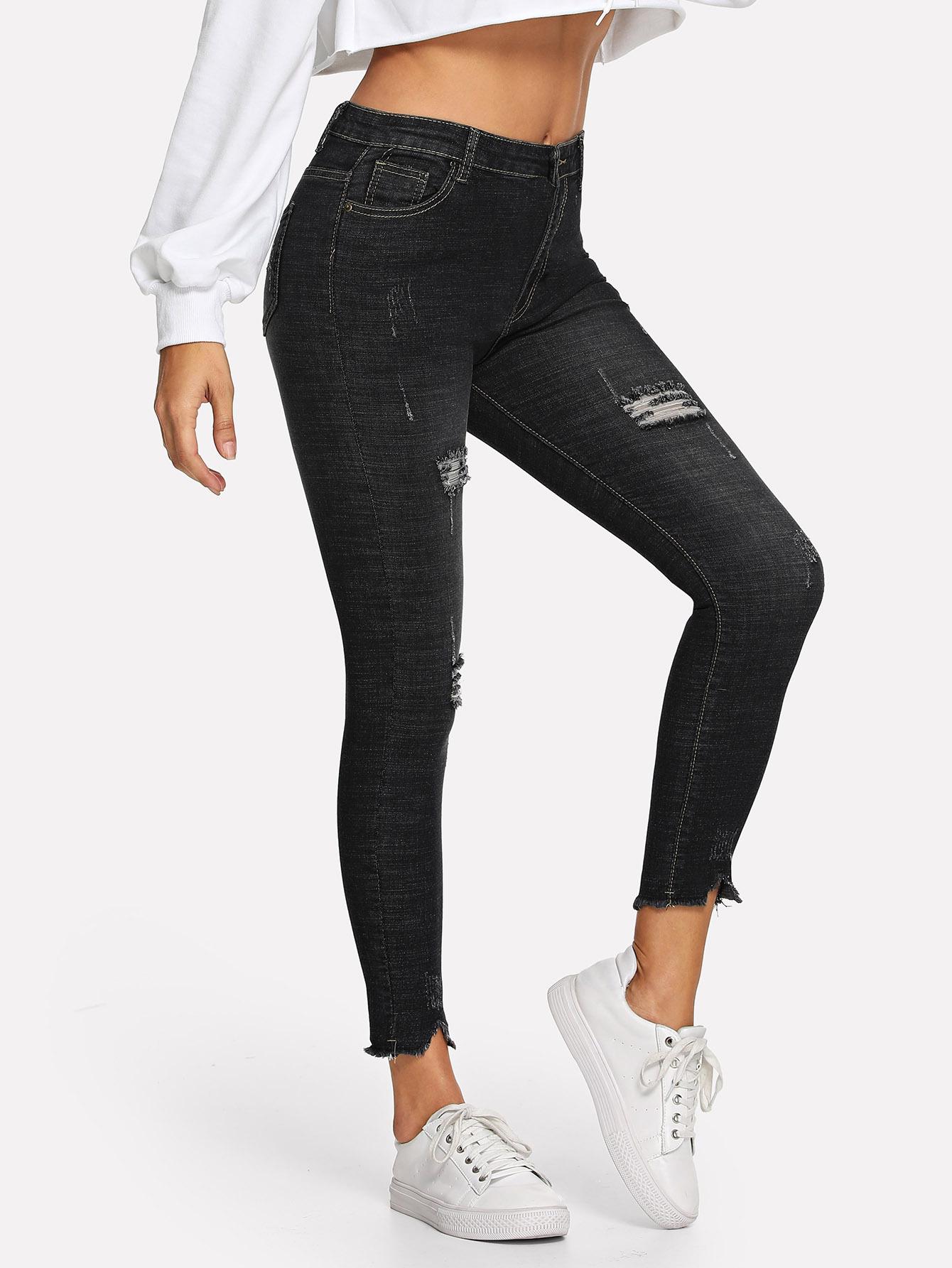 Фото - Рваные однотонные джинсы от SheIn черного цвета