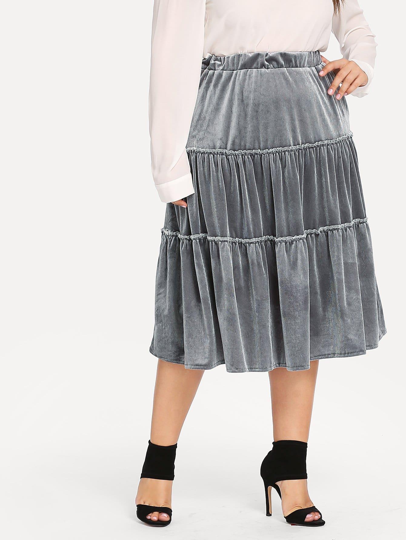Купить Размера плюс асимметричная бархатная юбка, Franziska, SheIn