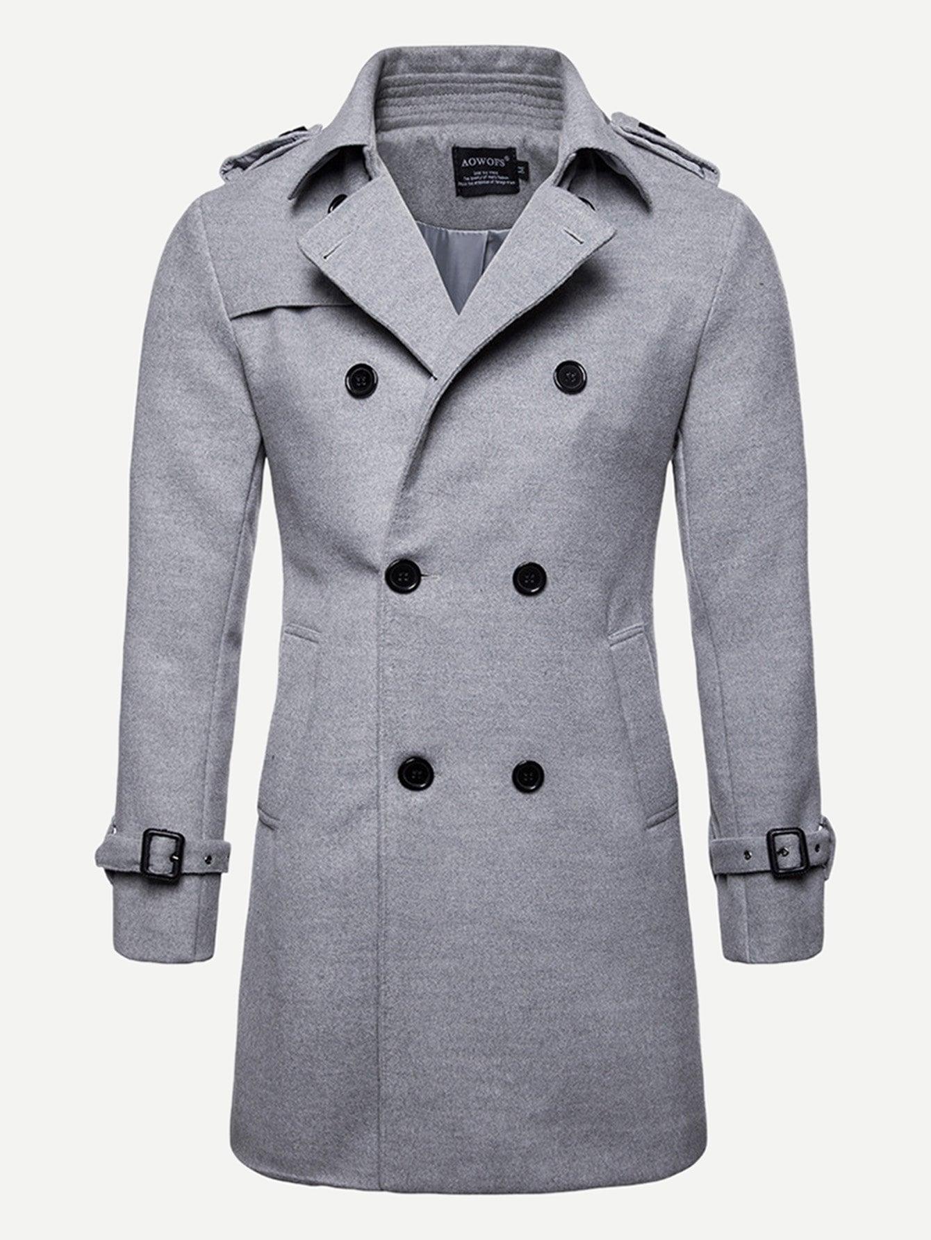 Фото - Мужское двубортное однотонное пальто от SheIn серого цвета