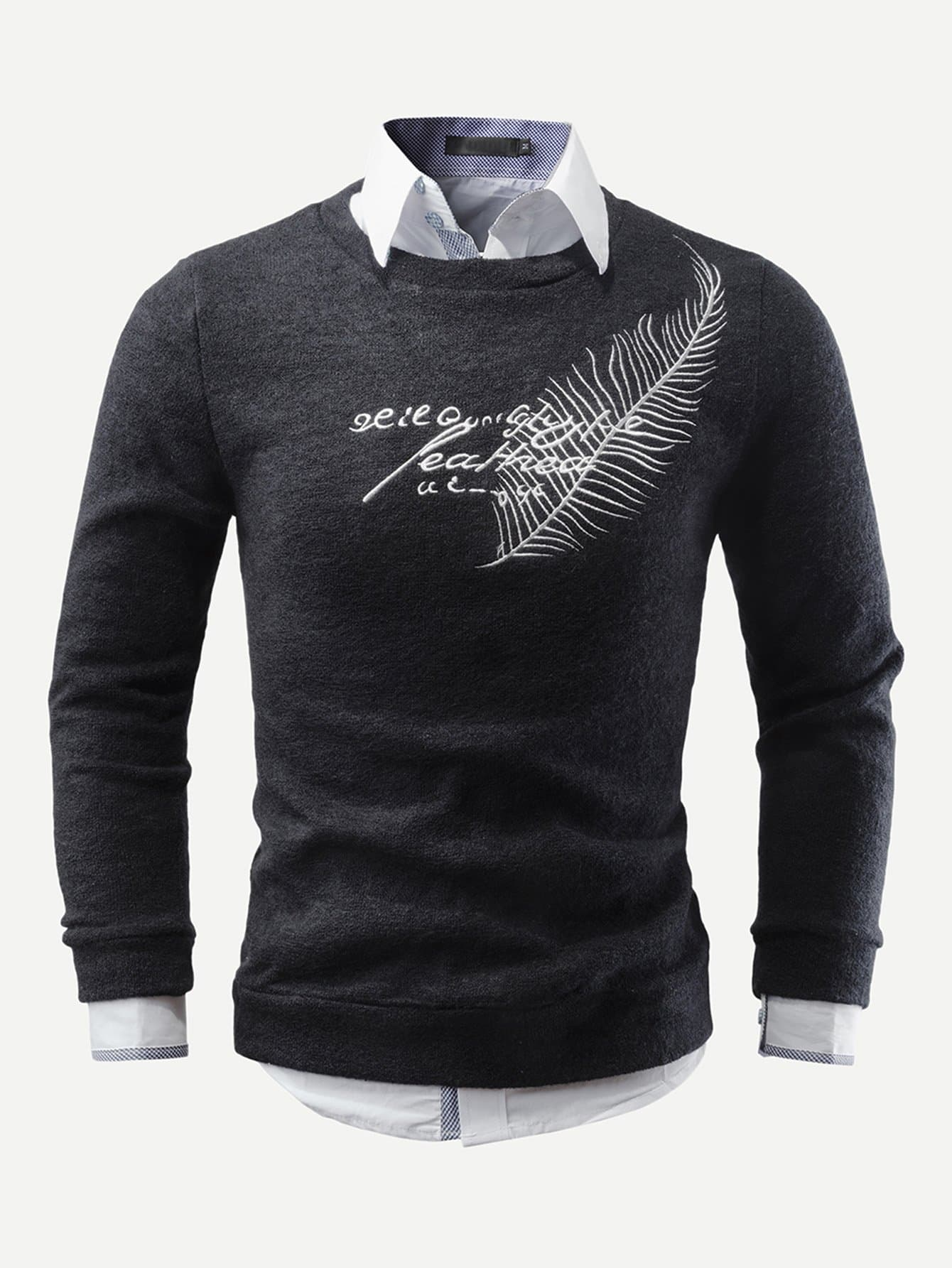 Фото - Мужский свитер с вышивкой от SheIn черного цвета