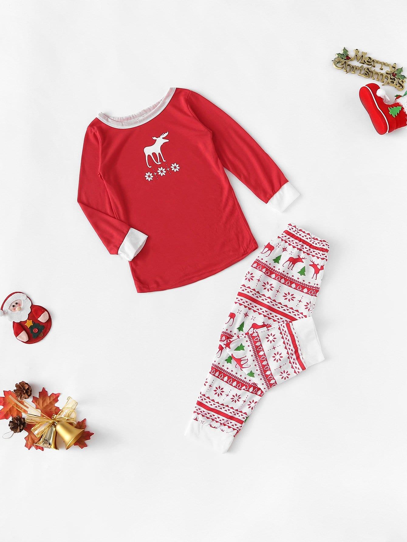 Купить Рождественская пижама с принтом оленя и снега для детей, null, SheIn