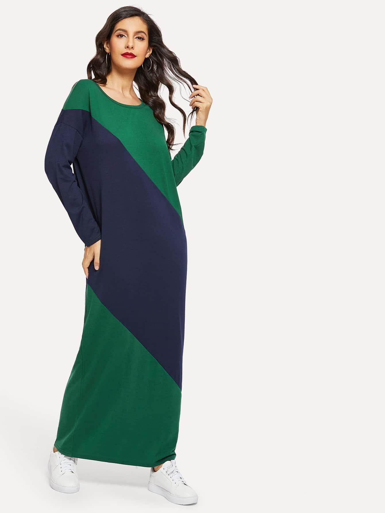 Купить Контрастное длинное платье с заниженной линией плеч, Jeane, SheIn