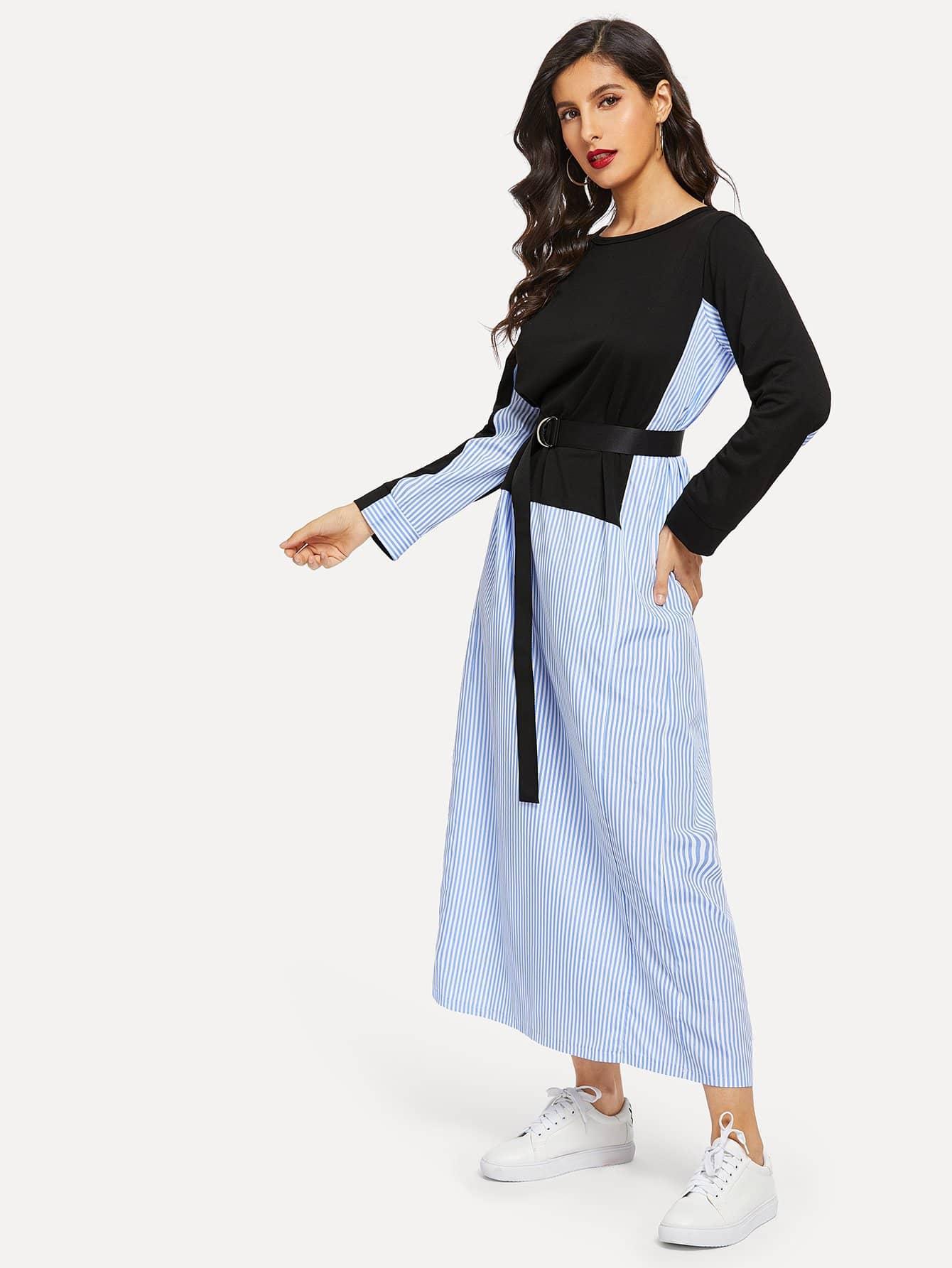 Купить Контрастное длинное платье в полоску с поясом, Jeane, SheIn