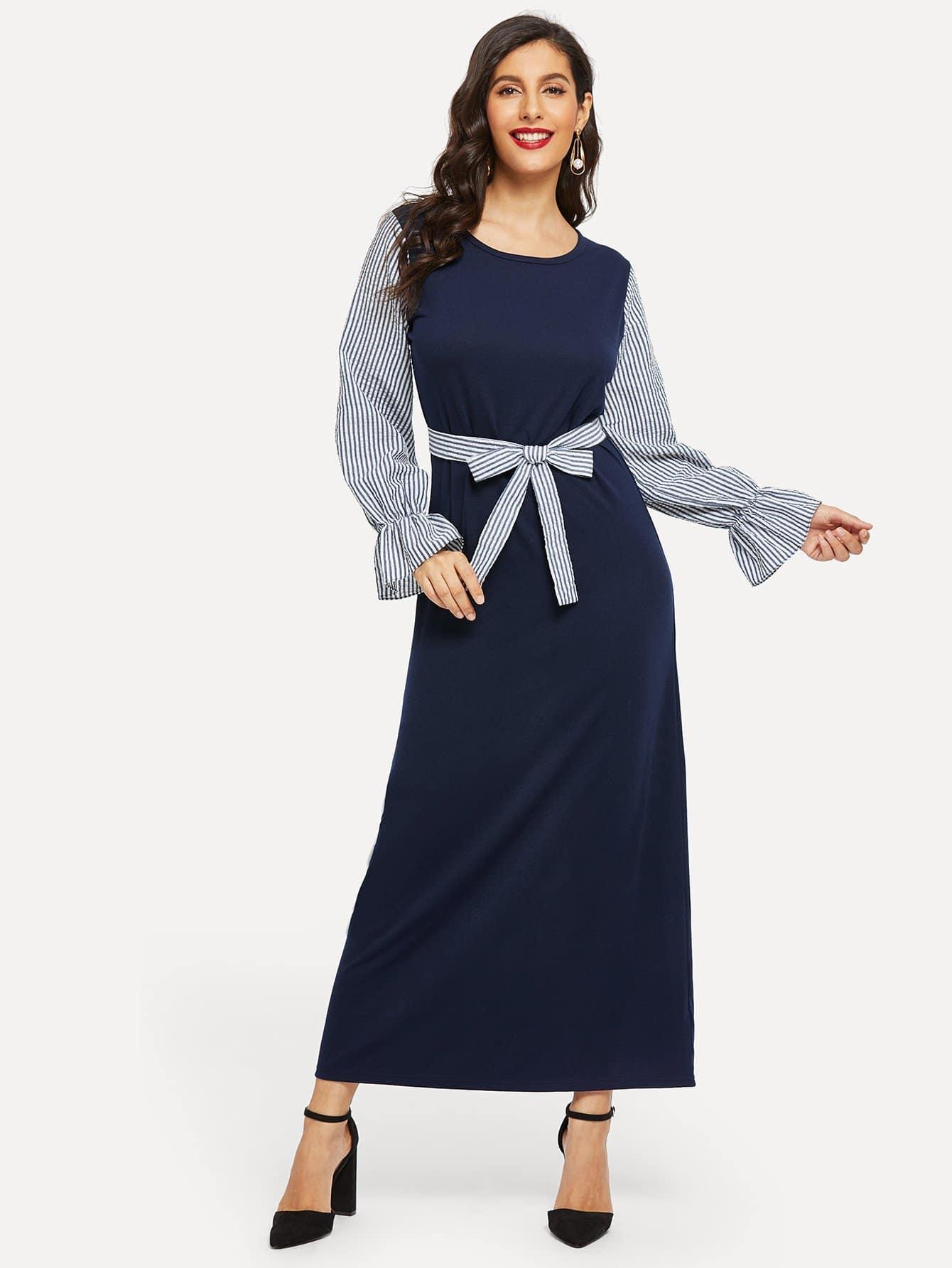 Купить Контрастное длинное платье в полоску с поясом рукав с розеткой, Jeane, SheIn