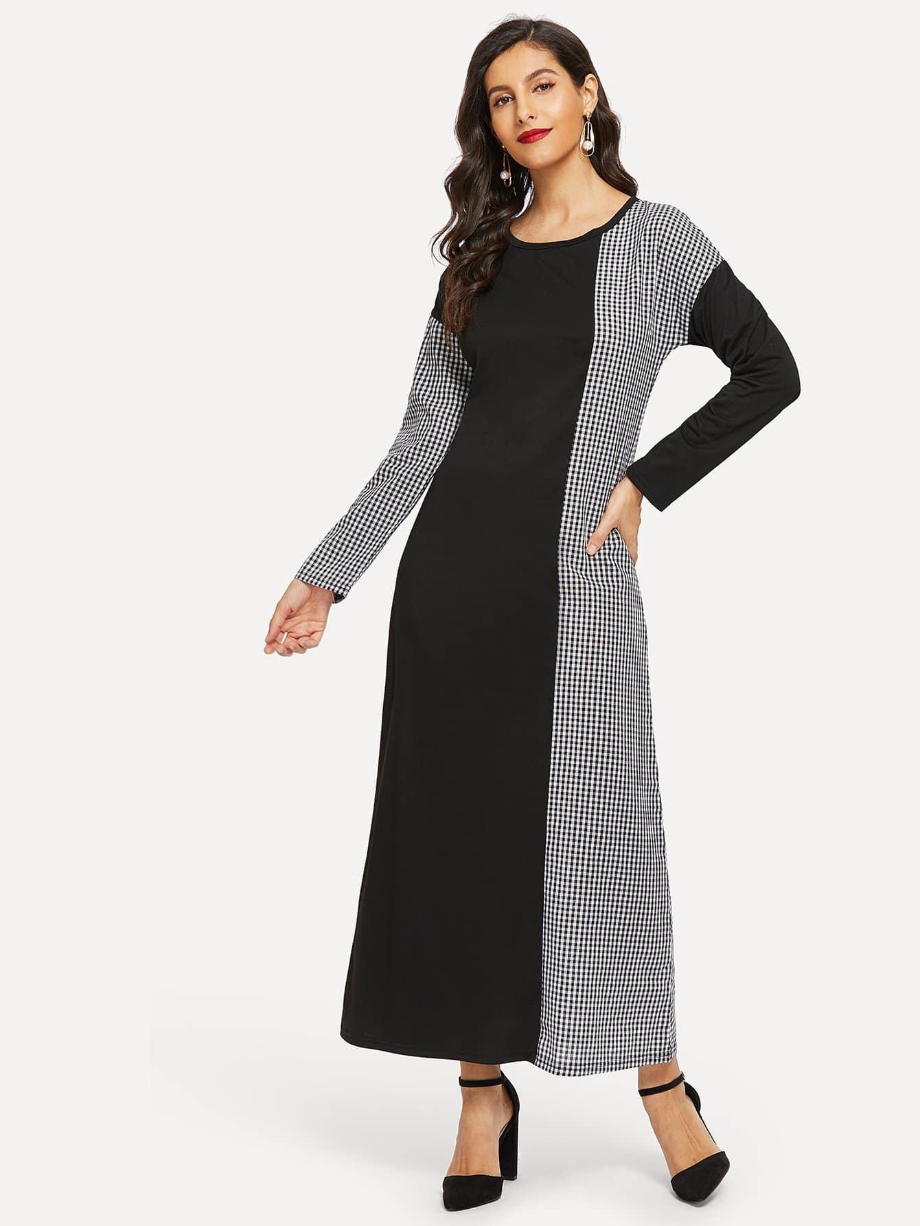 Купить Контрастное длинное платье в клетку с заниженной линией плеч, Jeane, SheIn