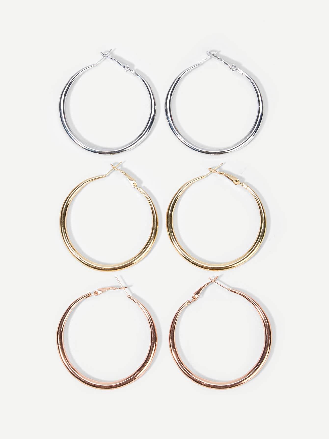 Фото - Однотонные серьги обруча 3 пары от SheIn цвет золотые