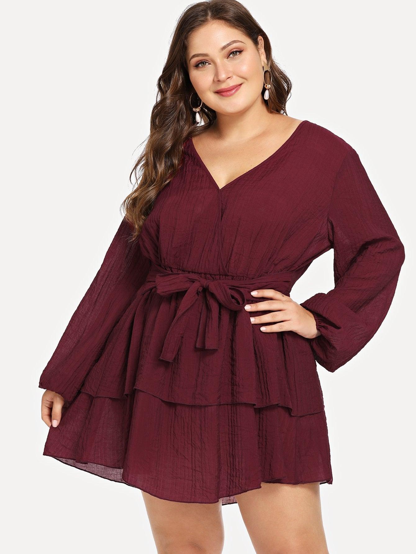 Купить Размера плюс платье с поясом и запахом, Carol, SheIn