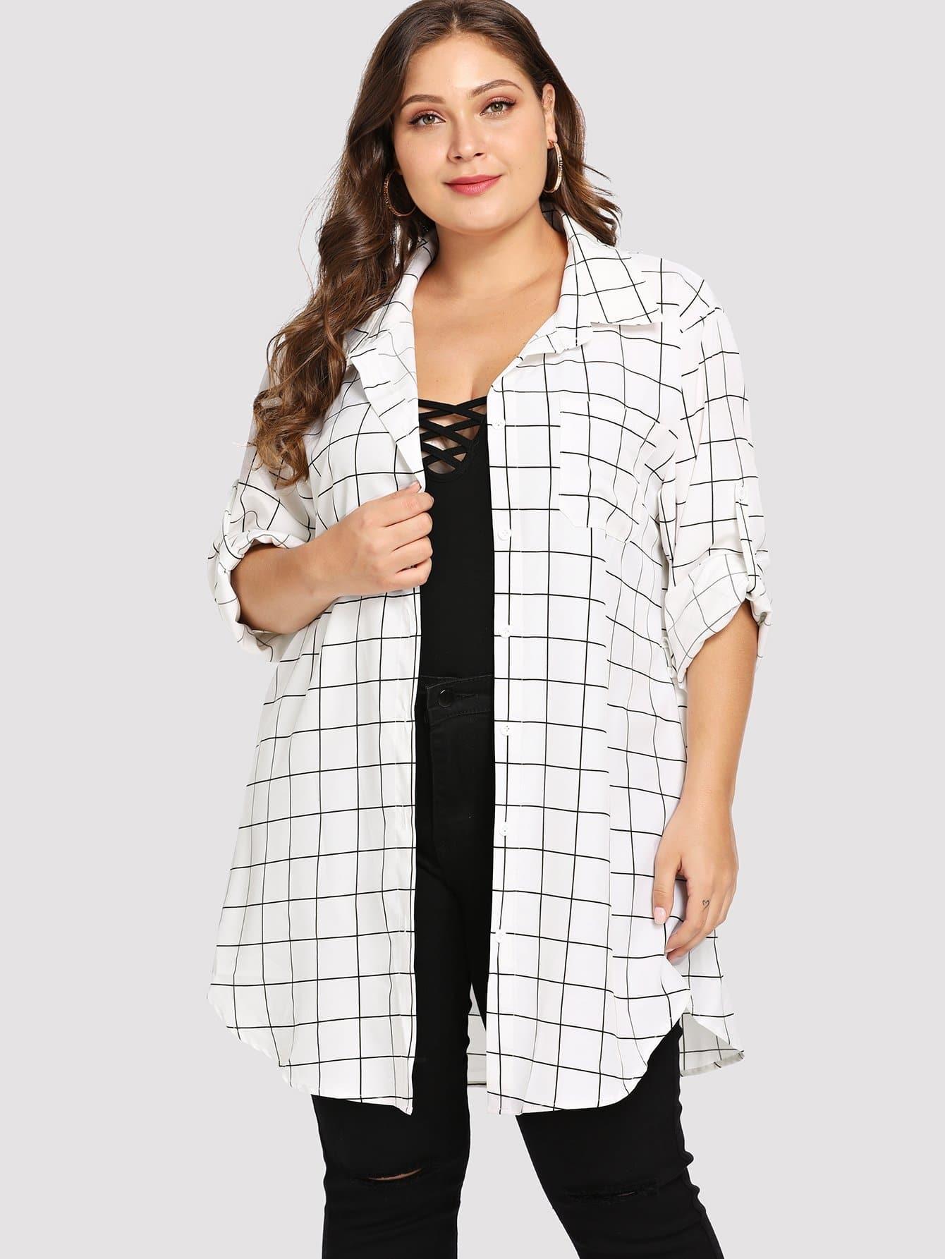 Купить Большое платье-рубашки с карманами, Carol, SheIn