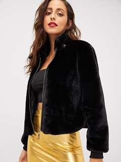 Zipper Up Front Faux Fur Jacket