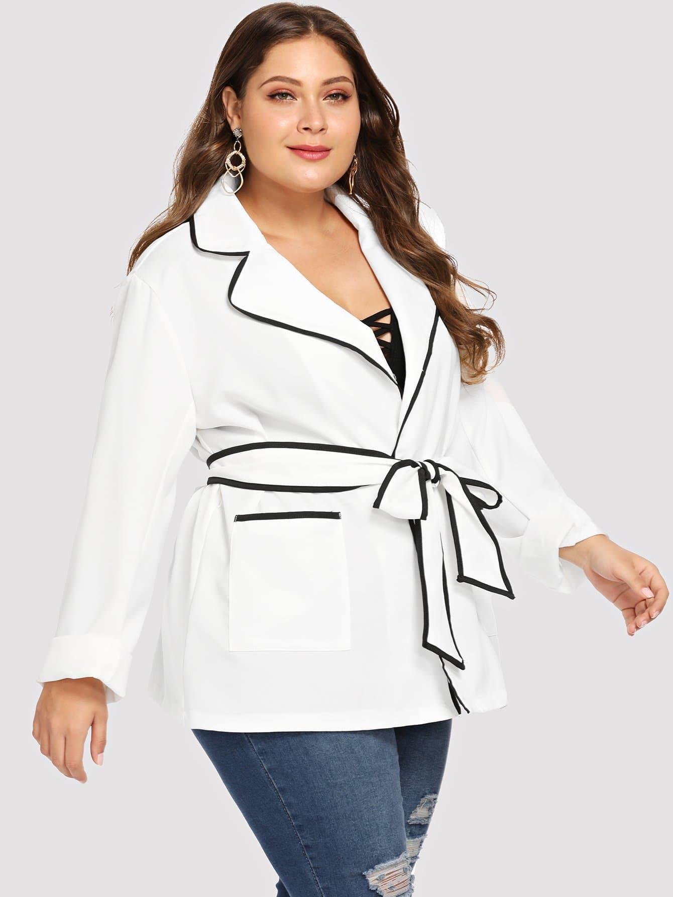 Купить Плюс размеры контрастное пальто с карманом, Carol, SheIn