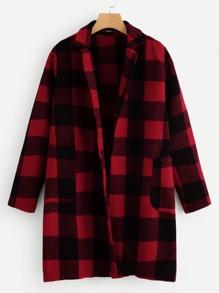 Buffalo   Collar   Plaid   Coat   Plus