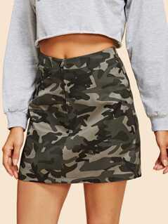 Zipper Up Camo Print Skirt