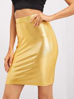 Wide Waistband Bodycon Skirt