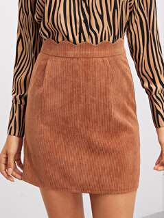 Scalloped Waist Corduroy Skirt