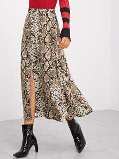 Snake Print Split Skirt
