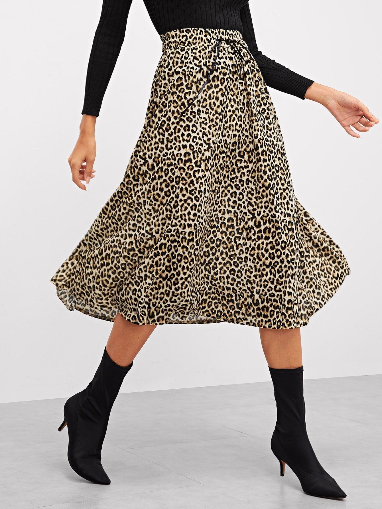 Фото - Леопардовая юбка с широкой талией от SheIn цвет многоцветный